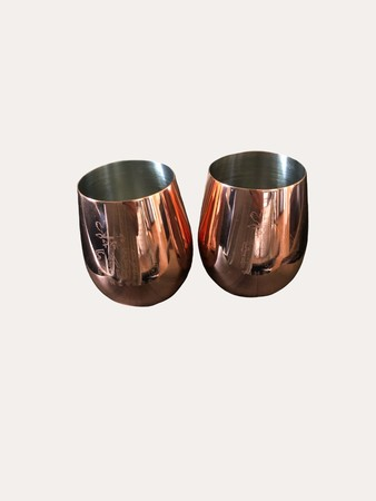 Copper Stemless FHV Wine Glass Set